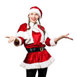 Woman santa claus christmas welcoming. One woman dressed as santa claus christmas welcoming on studio isolated white background Royalty Free Stock Photography