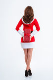 Woman in santa claus cloth holding gift box Stock Image