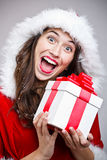 Woman in Santa Claus clothes Royalty Free Stock Images