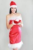 Woman in Santa Claus clothes Royalty Free Stock Photos