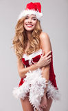 Woman in Santa Claus clothes Royalty Free Stock Photo