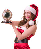 Woman in Santa Claus clothes with Clock Royalty Free Stock Photo