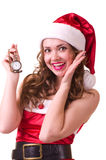 Woman in Santa Claus clothes with Clock Stock Images
