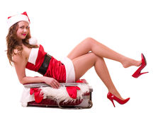 Woman in Santa Claus clothes dreaming Royalty Free Stock Photo