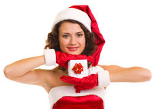 Woman in Santa Claus clothes with gift Stock Images