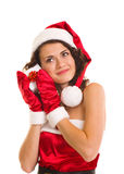 Woman in Santa Claus clothes with gift Royalty Free Stock Image