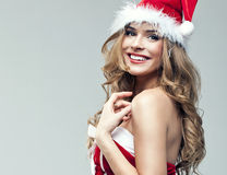 Woman in Santa Claus clothes Royalty Free Stock Photography