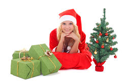 Woman in santa claus costume Stock Photos