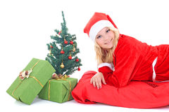 Woman in santa claus costume with gift and tree Stock Photography