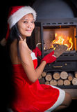 Woman in Santa Claus costume Royalty Free Stock Photo