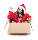 Woman in Santa Claus dress Stock Photos