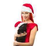 Woman in Santa Claus Hat with Cat Santa - Cute Christmas Cat, Ch Royalty Free Stock Photography