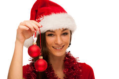 Woman with santa claus hat celebrating christmas Royalty Free Stock Images