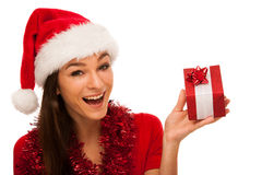 Woman with santa claus hat celebrating christmas Royalty Free Stock Photo