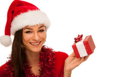 Woman with santa claus hat celebrating christmas Royalty Free Stock Image