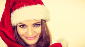 Woman in santa claus hat free and happy laughing Royalty Free Stock Images