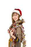Woman santa claus hat Royalty Free Stock Photography