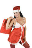 Woman in Santa Claus outfit stock photography