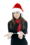 Woman in Santa Claus's red hat Stock Photo