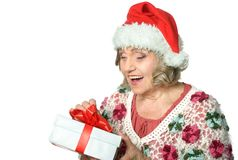 Woman in Santa Claus Stock Photo