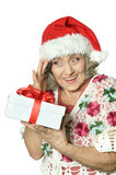 Woman in Santa Claus Stock Image