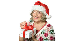 Woman in Santa Claus Royalty Free Stock Photos