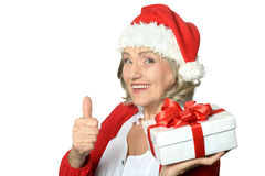 Woman in Santa Claus Stock Photo