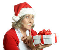 Woman in Santa Claus Royalty Free Stock Photography