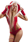 Woman in santa claus suit Stock Photo