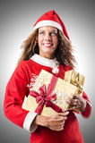 Woman santa claus Stock Images