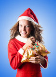 Woman santa claus on white Royalty Free Stock Image