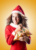 The woman santa claus on white Royalty Free Stock Photography