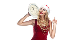 Woman in Santa Clause costume stock photography