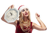 Woman in Santa Clause costume royalty free stock photo