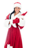 Woman in santa clause costume. Royalty Free Stock Photo