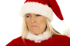 Woman santa close expression frown look down Stock Photography