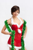 Woman in santa dress with spangle Royalty Free Stock Photos