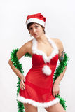 Woman in santa dress with spangle Royalty Free Stock Photo