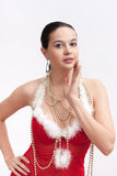 Woman in santa dress with spangle stock photography