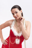 Woman in santa dress with spangle royalty free stock image