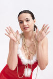 Woman in santa dress with spangle Royalty Free Stock Photography