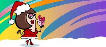 Woman santa greeting card cartoon Stock Photo