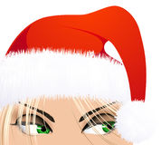 Woman with Santa hat Stock Images