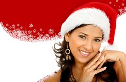 Woman with Santa hat Stock Photography