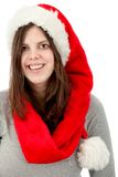 Woman with Santa hat Stock Photo