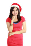 Woman in santa hat Royalty Free Stock Image