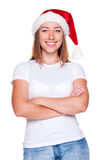 Woman in santa hat Stock Photos