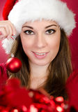 Woman with Santa Hat Royalty Free Stock Image