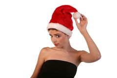 Woman with Santa Hat Stock Image