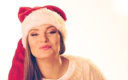 Woman in santa hat Stock Photos